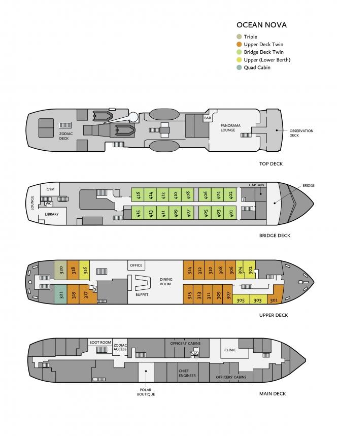 Plan du bateau d'expédition Ocean Nova - région polaire | Les Mondes Polaires