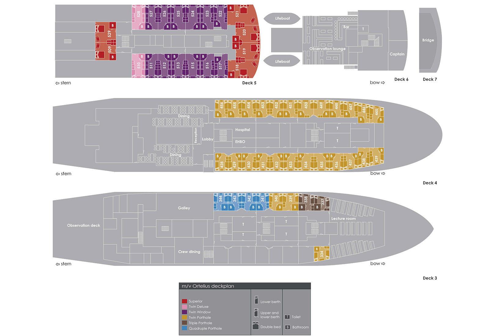 Plan du bateau d'expédition Ortelius - région polaire   Les Mondes Polaires