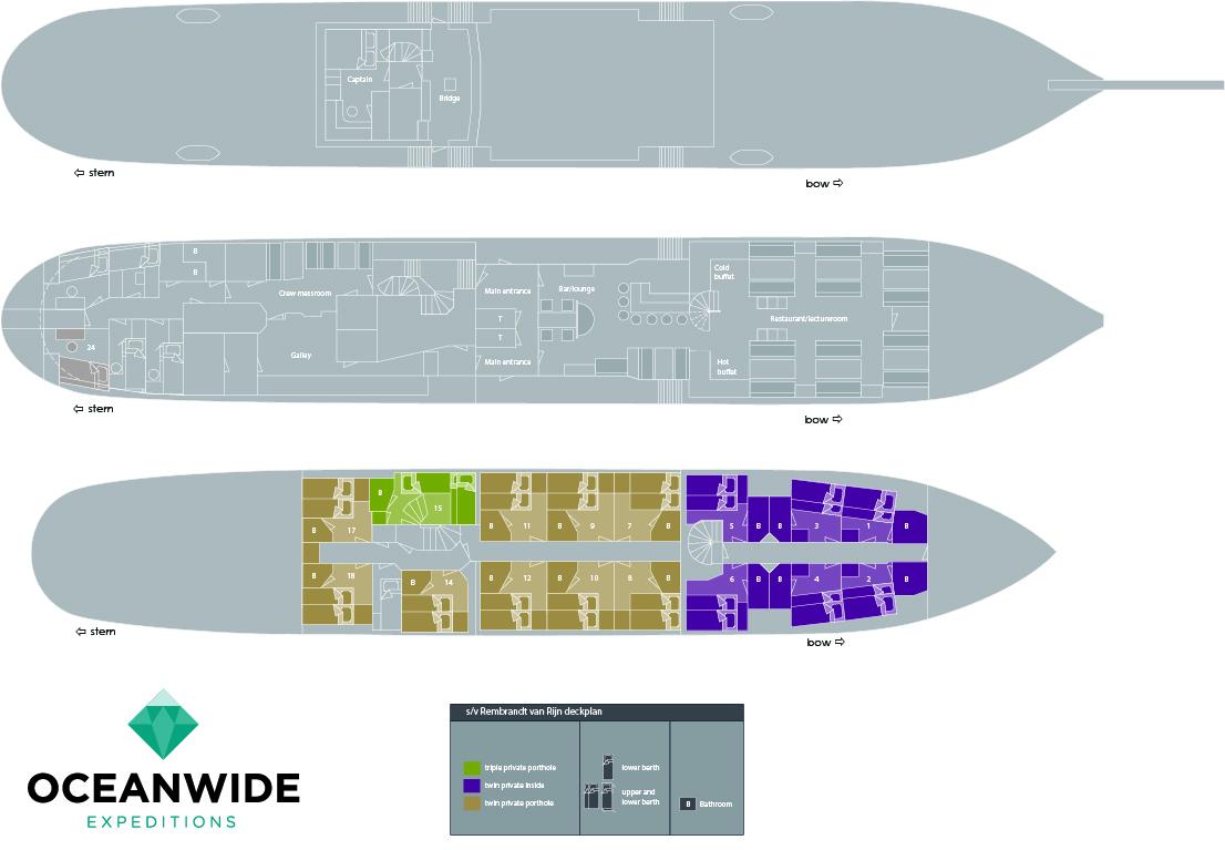 Plan du voilier d'expédition Rembrandt - région polaire | Les Mondes Polaires