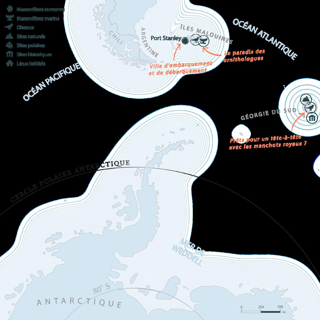 Carte Antarctique iles Malouines Falklands Gérogie du Sud| Les Mondes Polaires