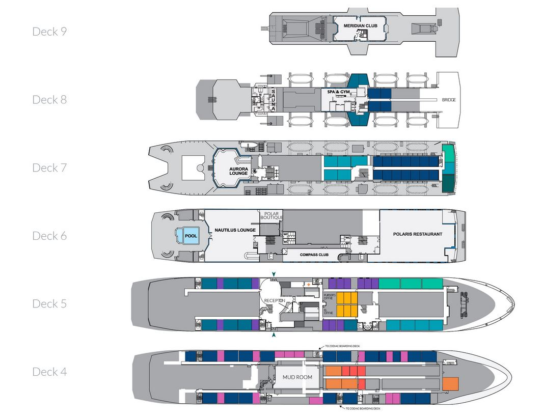 Plan du bateau d'expédition Ocean Endeavour - Région polaire | Les Mondes Polaires