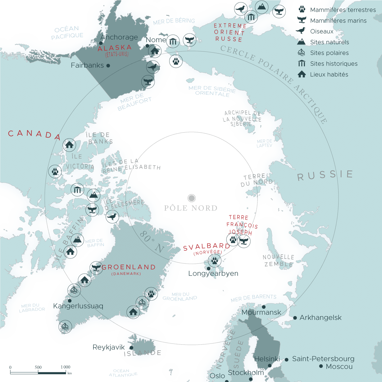 Carte de la region du grand nord et de l'arctique | Les Mondes Polaires
