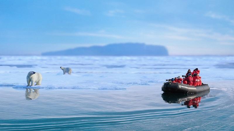 Sortie en zodiac pour observer l'ours polaire sur la banquise - Terre Francois-Joseph | Les Mondes Polaires