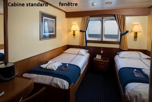 Cabine standard fenetre du bateau d'expédition Ocean Adventurer - Région polaire | Les Mondes Polaires