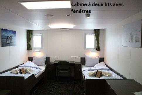 Cabine twin fenetre du bateau d'expédition Ortelius - Région polaire   Les Mondes Polaires
