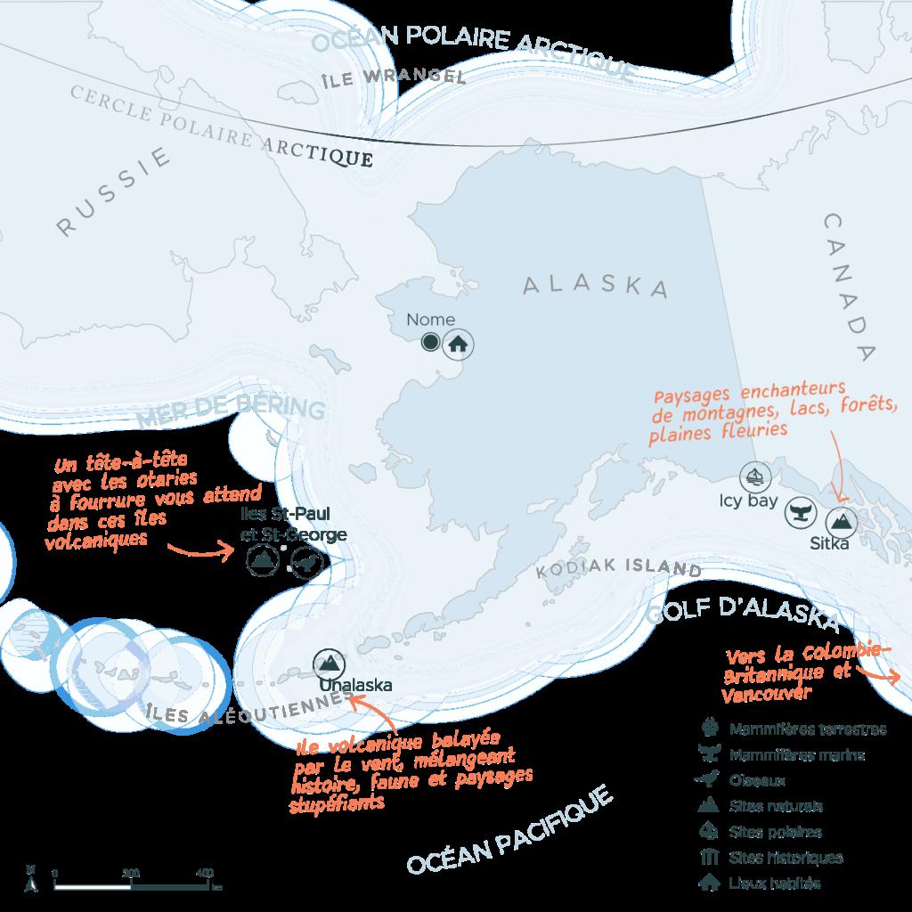 Carte d'une expédition de Nome en Alaska à Vancouver au Canada   Les Mondes Polaires