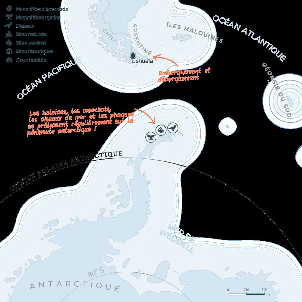 Carte expédition péninsule Antarctique | Les Mondes Polaires