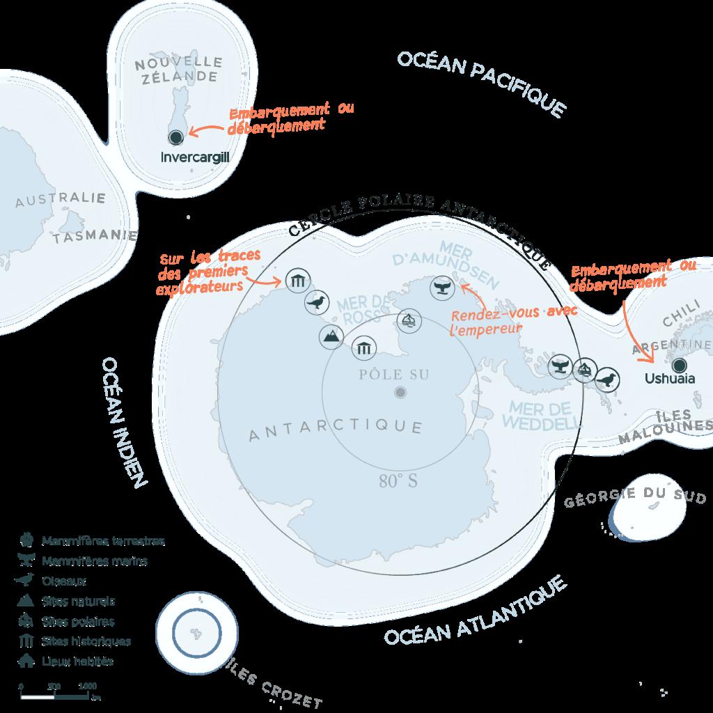 Carte expédition péninsule Antarctique et mer de Ross | Les Mondes Polaires
