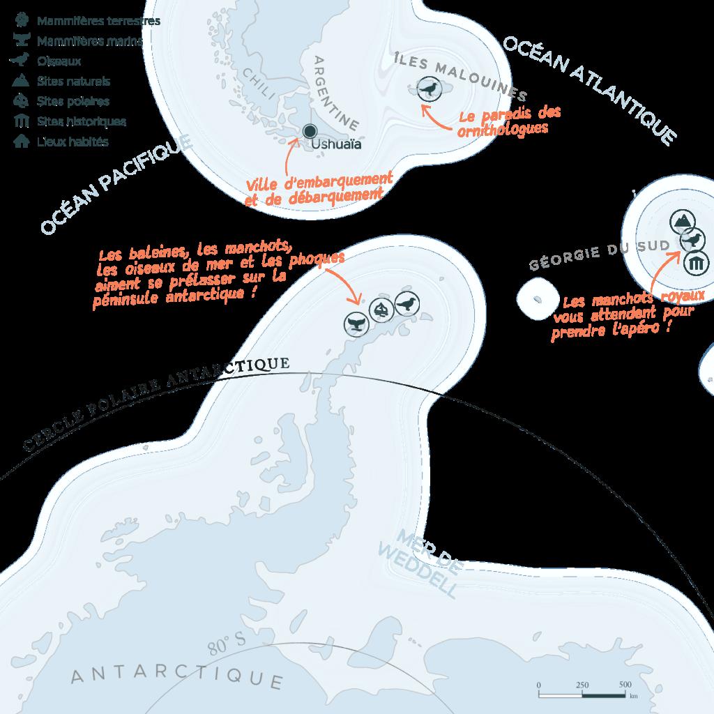 Carte expédition péninsule Antarctique et Géorgie du Sud et Malouines | Les Mondes Polaires