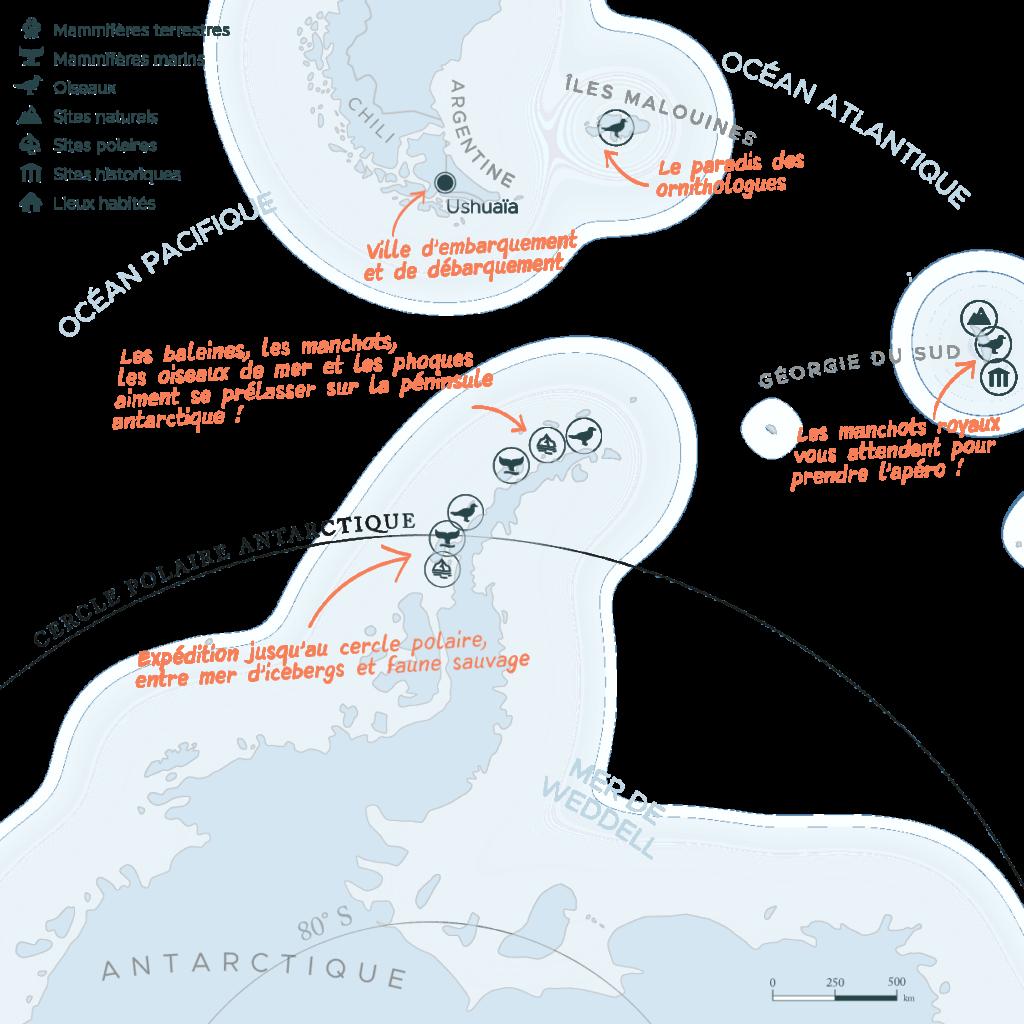 Carte expédition péninsule Antarctique et cercle polaire et Géorgie du Sud et Malouines   Les Mondes Polaires