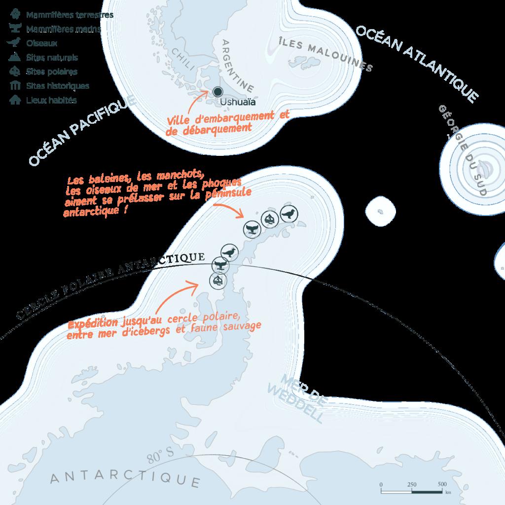 Carte expédition péninsule Antarctique et cercle polaire   Les Mondes Polaires