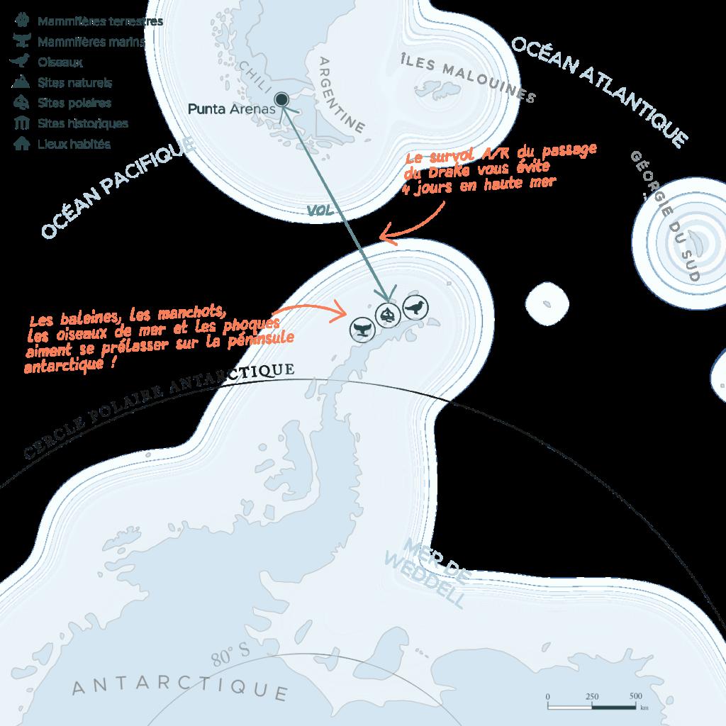 Carte expédition péninsule Antarctique et passage du Drake | Les Mondes Polaires