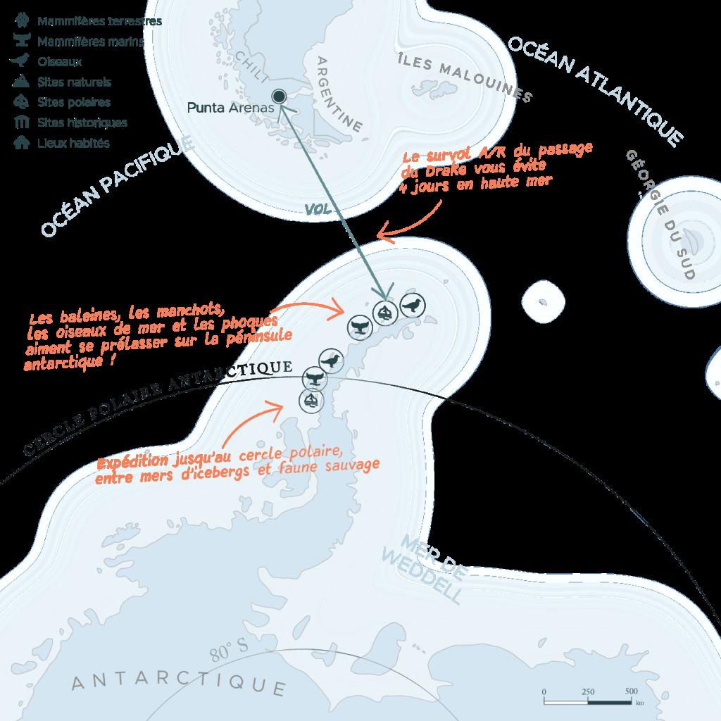 Carte expédition péninsule Antarctique et cercle polaire et passage du Drake   Les Mondes Polaires