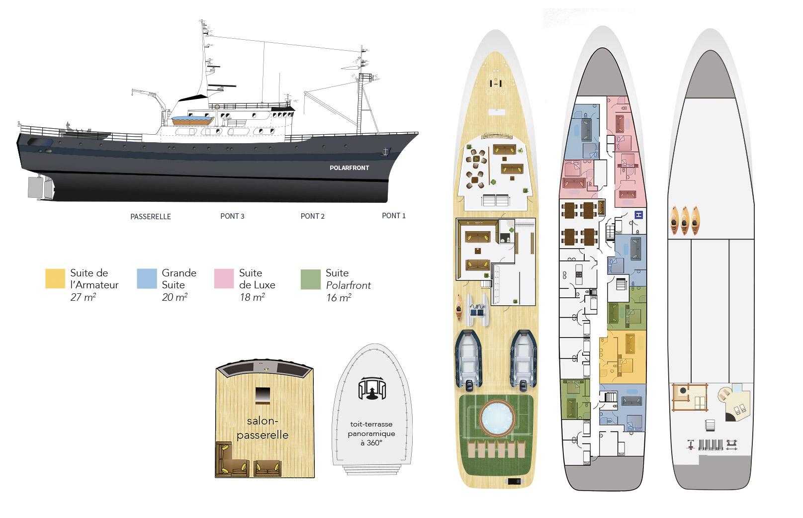 Plan du bateau d'expedition Polarfront - région polaire   Les Mondes Polaires