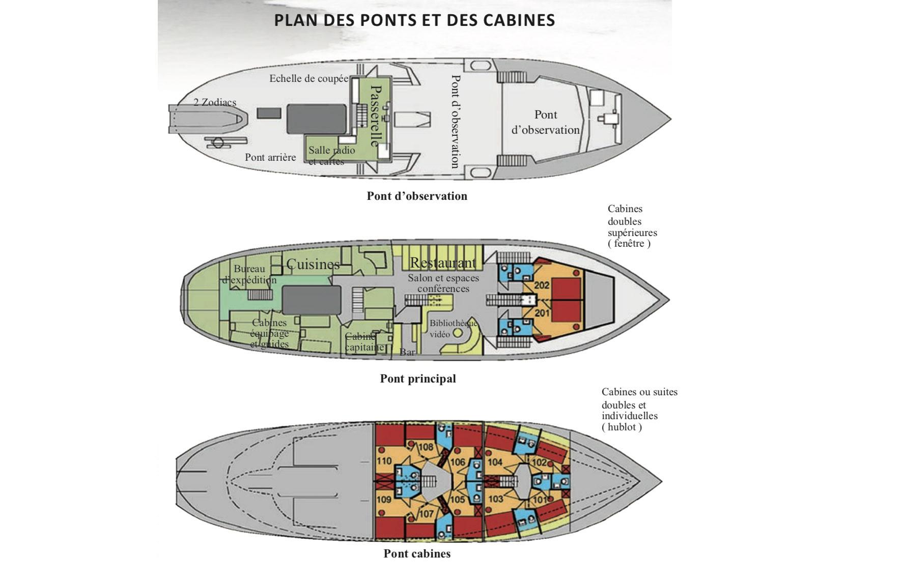 Plan du bateau d'expedition Polaris - région polaire   Les Mondes Polaires