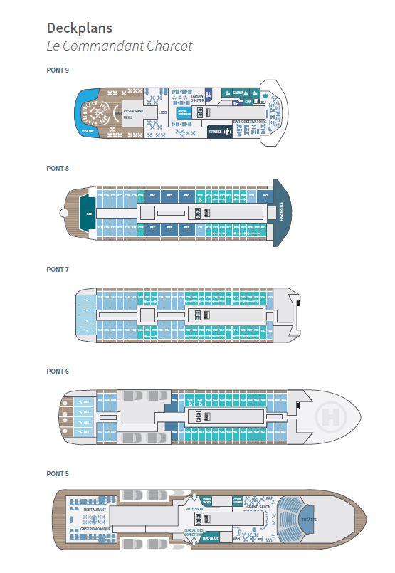 Plan du bateau d'expédition Commandnat Charcot - Région polaire | Les Mondes Polaires