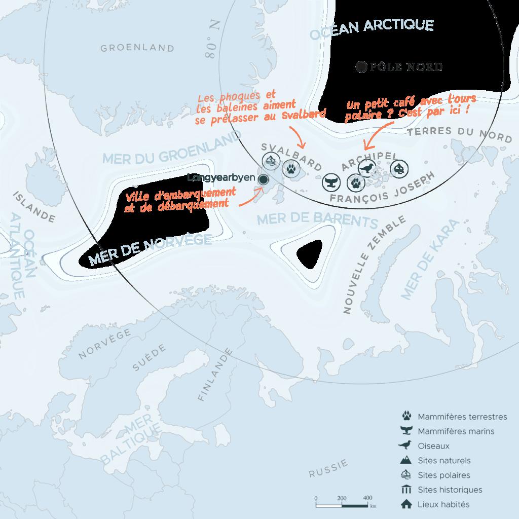 Carte expédition en arctique au Svalbard et terre Francois-Joseph | Les Mondes Polaires