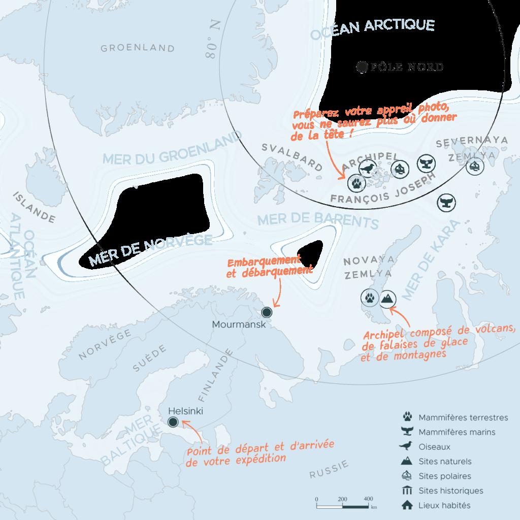 Carte expédition en arctique Murmansk et terre Francois-Joseph | Les Mondes Polaires