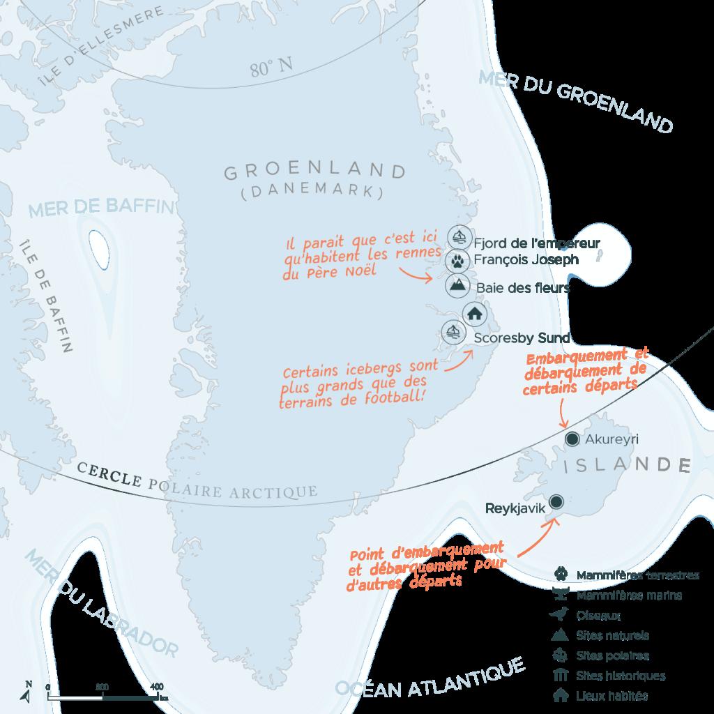 Carte expédition en arctique côte est Groenland | Les Mondes Polaires
