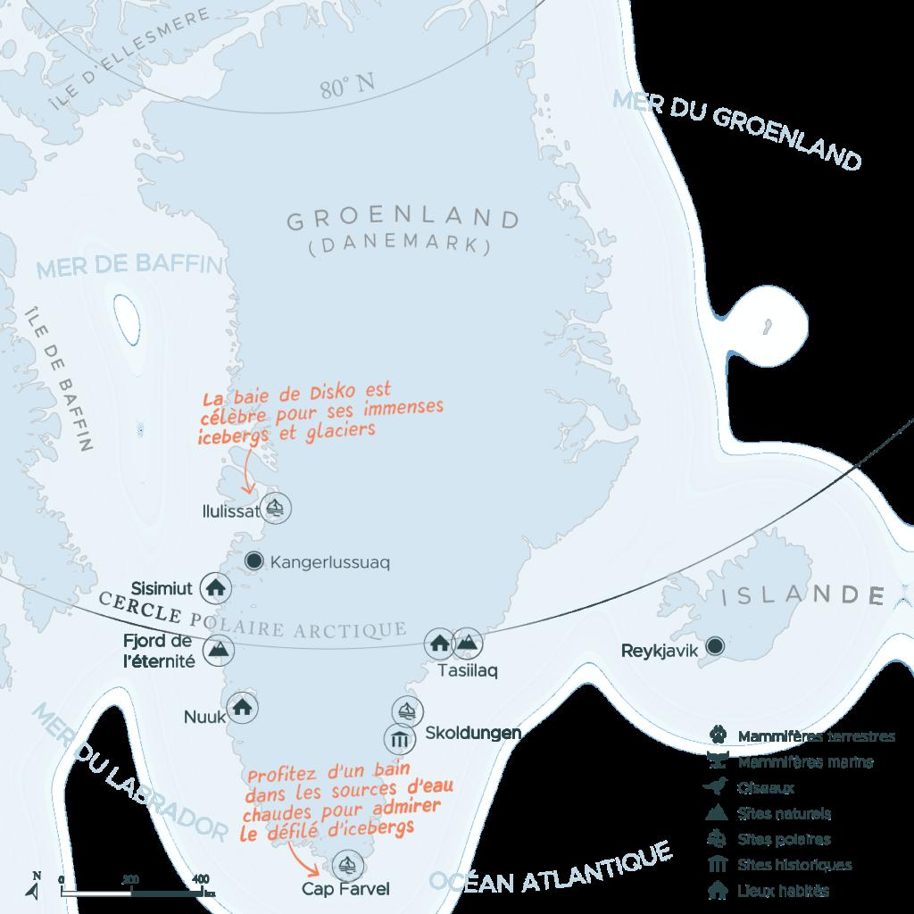 Carte expédition en arctique côte sud et ouest Groenland   Les Mondes Polaires