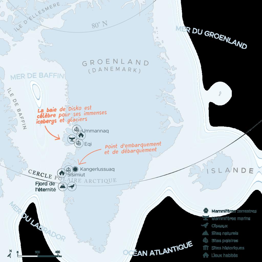 Carte expédition en arctique côte ouest Groenland | Les Mondes Polaires