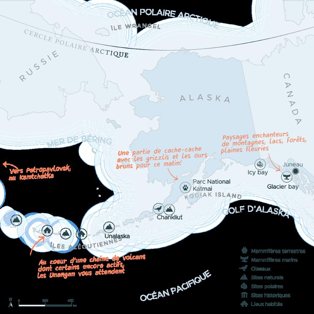 Carte d'une expédition du Kamtchatka en Russie à Juneau en Alaska par les îles aléoutiennes | Les Mondes Polaires