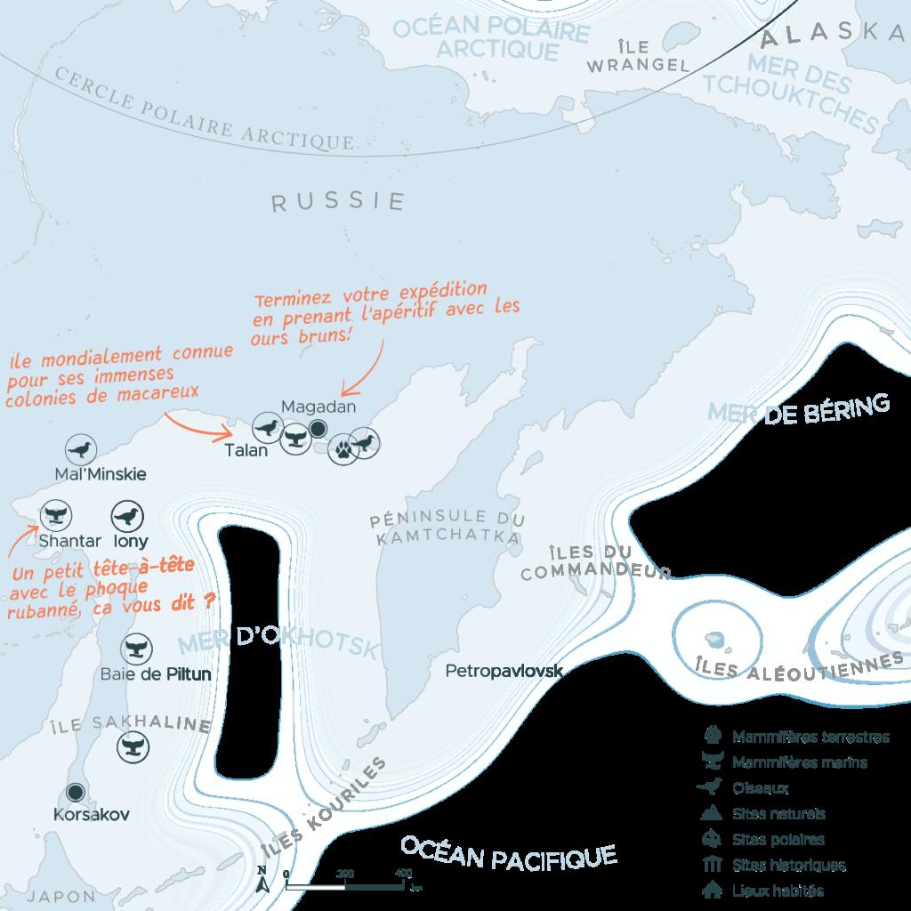 Carte d'une expédition au Kamtchatka et dans la mer d'Okhotsk en Russie | Les Mondes Polaires