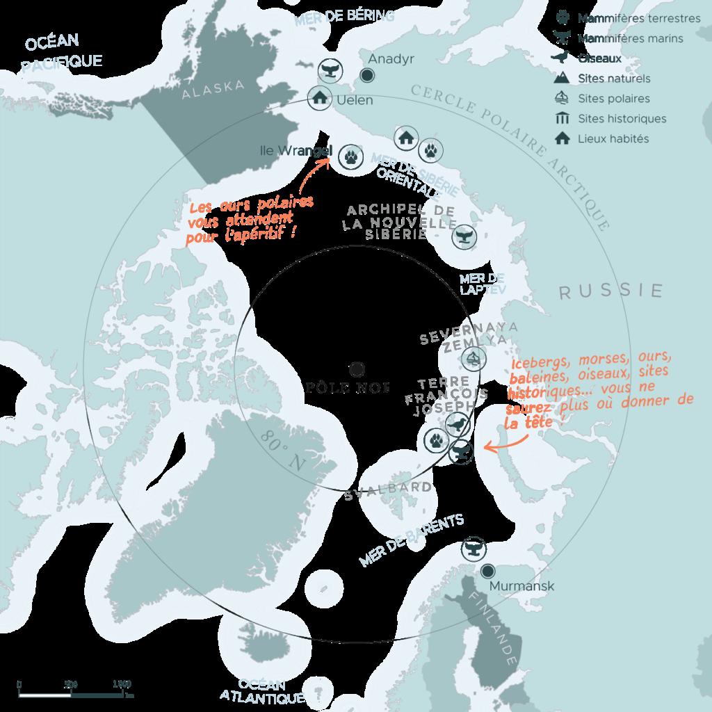 Carte d'une expédition à travers le passage du Nord-Est en Russie | Les Mondes Polaires