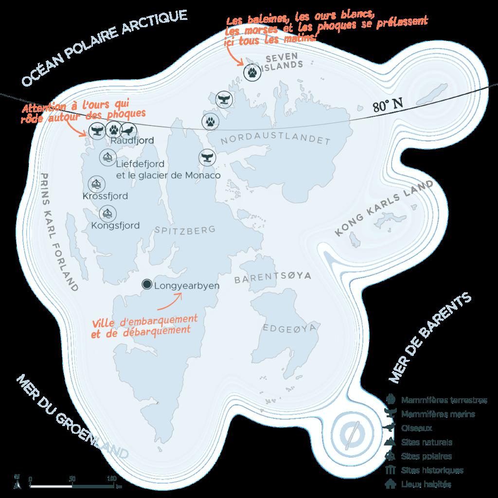 Carte expédition en arctique nord du Spitzberg | Les Mondes Polaires