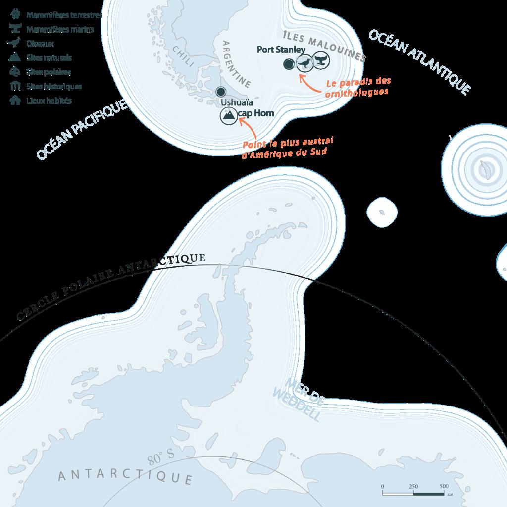 Carte Antarctique iles Malouines Falklands | Les Mondes Polaires